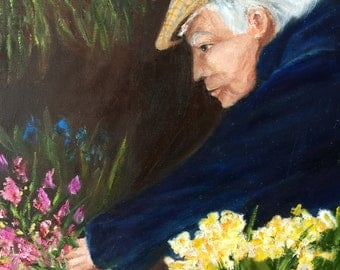 """Gift, """"The Flower Vendor"""",English,flowers,cityscape,,oil , original painting,small painting.art and collectibles, wall art,British"""