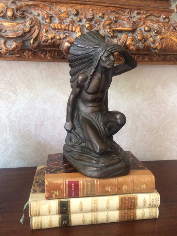 Indian scout signed antique armor bronze bookend - Armor bronze bookends ...
