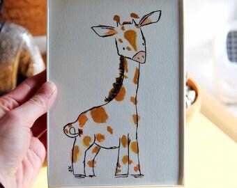 Giraffe 5x7 Original Watercolor Drawing