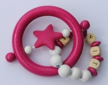 wooden teether, baby personalised rattle, teething toy, personalized baby gift, personalized teether, baby girl gift, new mom gift, wood toy