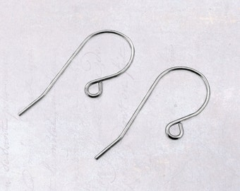 20 x Pairs Stainless Steel Earring Hooks Earwires 20 Gauge - Simple Design Shepherd Hook Ear Wires