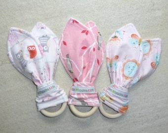 Wooden Teething Ring, Bunny Ears Teether, Teething Toy, Baby Girl Gift, Baby Shower Gift