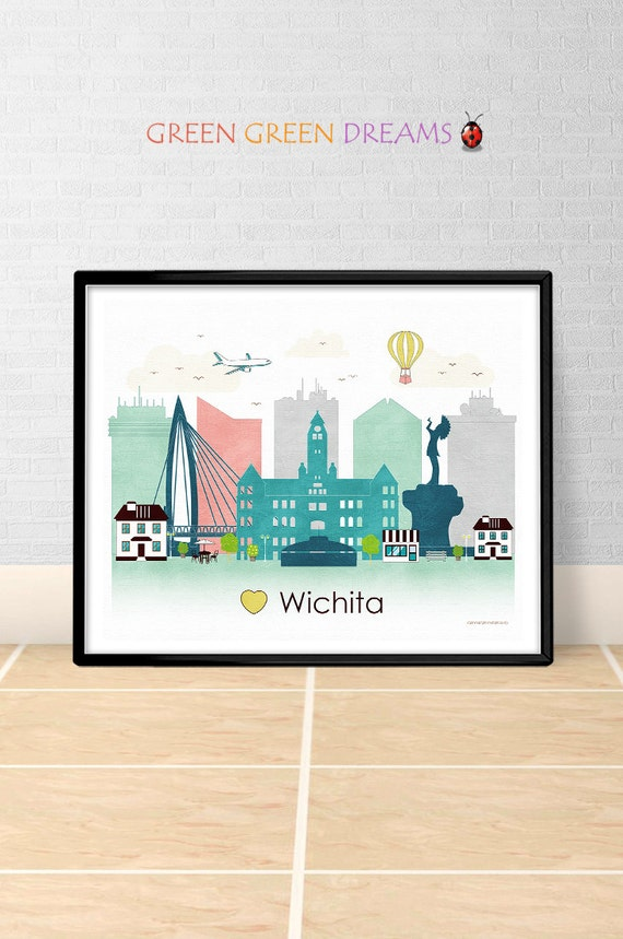 Wichita poster print wall art printable by greengreendreams for Craft stores wichita ks
