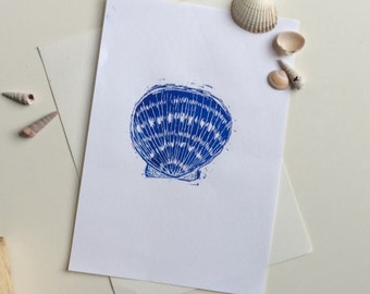 Seashell Print - Seaside Art - Blue seashell print - Bathroom Art - Beach Print - Nautical Art - Blue seaside art - Blue linoprint - gift