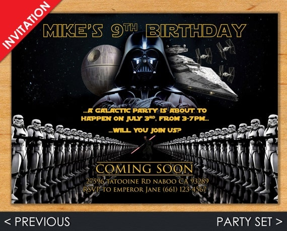 Digital Star Wars Birthday Invitation, Darth Vader Invite - Party Set of Invitation, Address Label, Favor Tag & Bottle Label - Printadorable