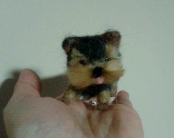Ooak needle felted handmade dog wool sculpture yorkie puppy dog