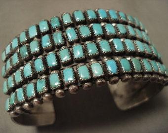 Museum Vintage Navajo 'Rectangled Turquoise' Silver Bracelet