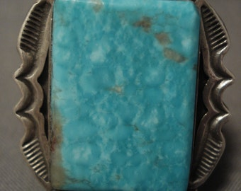 The Best Vintage Navajo Squared Easter Blue Turquoise Silver Ring