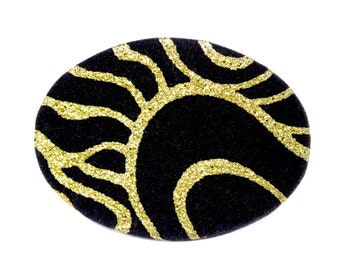 VINTAGE: 1980's - Sommai Buckle - Black Velvet and Gold Glitter Buckle - Tropical Shell World INC - Elastic Belt Buckle - (19-A4-00006009)
