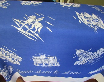 VINTAGE tablecloth From SEA to SEA 48 X 48