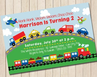 Planes, Trains & Automobiles Invitation - PRINTABLE Transportation Boys Birthday Invite