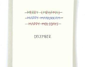 Funny Christmas Card, Merry Christmas, Funny Hanukkah Card, HAPPY HOLIDAYS, Holiday Card Funny, Christmas for Friend, Jewish Card, Santa