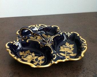 Vintage Dish - Made in Germany - JLMENAU Graf von Henneberg Porzellan -  Echt Kobalt Serving Dish - Cabinet Piece - Gift for Collector