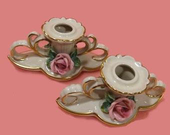 Dresden Pink Rose 2 Porcelain Candle Holders Germany Candlestick Set