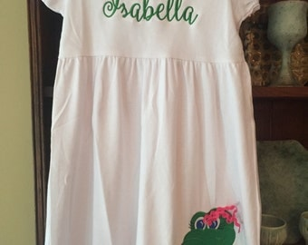 Dress with gator applique and name