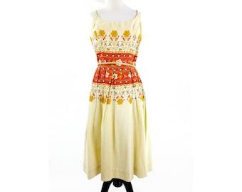 60s Floral Dress, White Hippie Dress, White Bohemian Dress, Summer White Maxi Dress, Long Strappy Dress, Music Festival Dress, Medium Sz 13