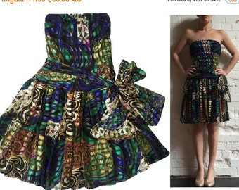 SALE 25% OFF Strapless Metallic Party Dress Bow Side