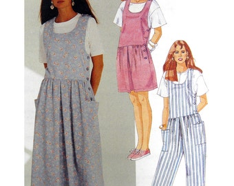 90's McCall's 4812 Easy Fitting Drop Waist Jumper, Jumpsuit or Romper with U-Neckline Uncut, Factory Folded Sewing Pattern Plus Size 22-24