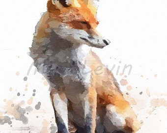 Red fox printable, animal gift fox giclee Print,illustration, fox , digital download woodland fox decor, fox art, fox artwork, fox gifts