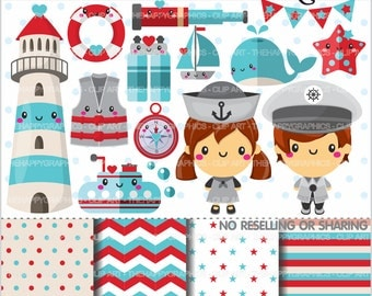 80%OFF - Nautical Clipart, Navy Clipart, COMMERCIAL USE, Cute Clipart, Marine Clipart, Sailor Clipart, Planner Accessories, Sea