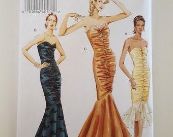 Vogue 8190, V8190, Sizes 8, 10,12, Misses Evening Dress, Mermaid Dress, Fishtail Hemline, Ruched Front, Gathered Front, Strapless Dress