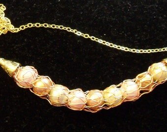Knit Wire Necklace  - Antique Gold