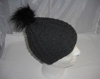 Cap with art fur Pompom KU 42-52 cm - Beanie - Cap - Bobble - Knit Beanie