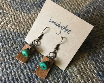 Leather and Turquoise Petite Earrings