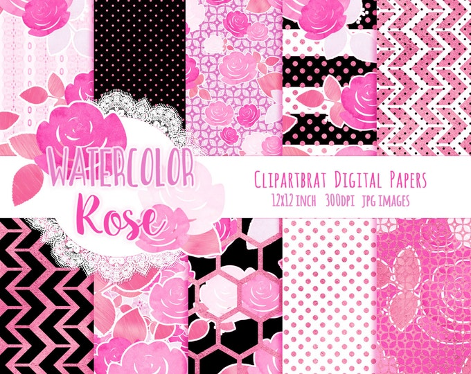 ROSE WATERCOLOUR Digital Paper Pack Black & White Mint Copper Metallic Commercial Use Digital Papers Rose Floral Stripes Chic Digital Paper