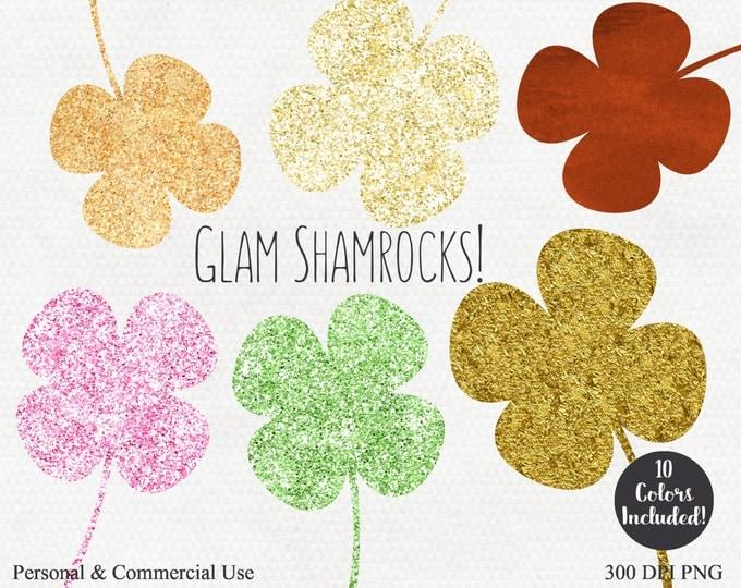 SHAMROCK CLOVER Clipart Commercial Use Clip Art Gold Copper Metallic Glitter & Foil 4 Four Leaf Clover Graphics St. Patrick's Day Clipart