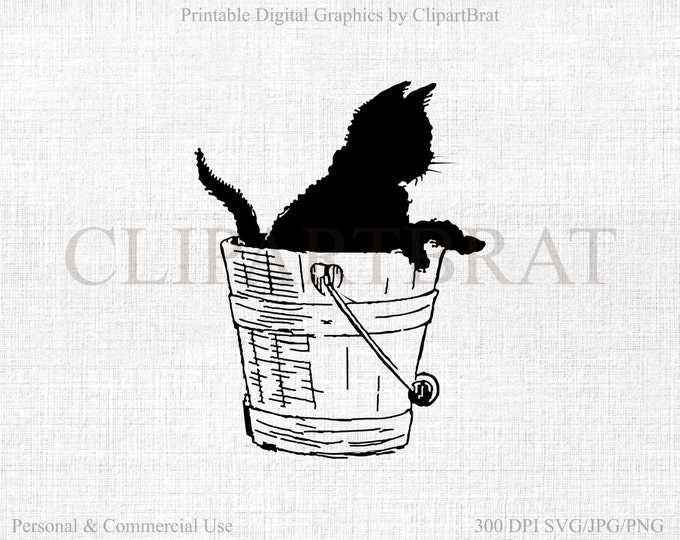 KITTY CAT CLIPART Commercial Use Clipart Digital Stamp Black Cat Graphic Black Cat Fabric Transfer Clipart Cat Vector Graphic Jpg/Png/Svg