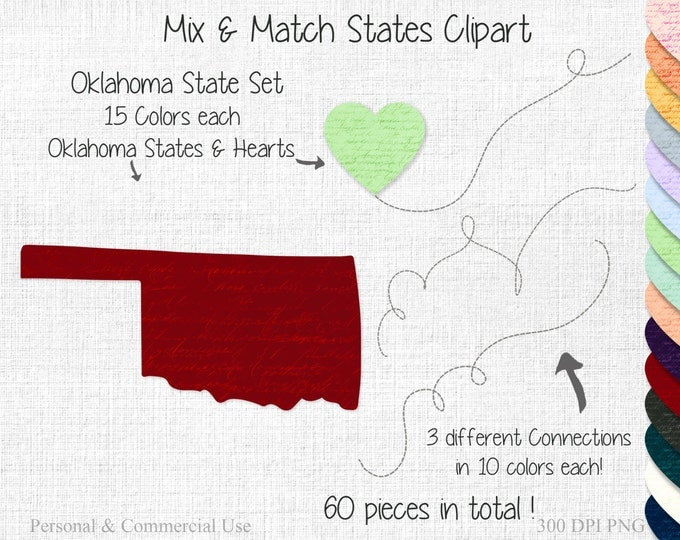OKLAHOMA STATE to STATE Clipart Commercial Use Clipart Mix & Match States Home State Clipart Oklahoma Map Personalized Heart Map Clipart