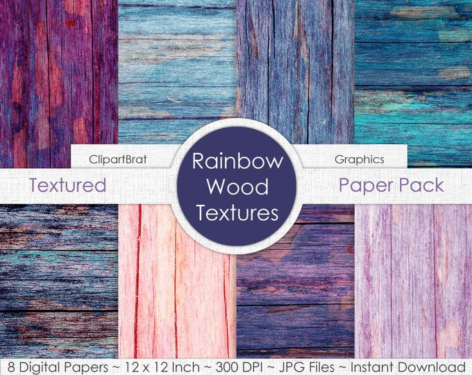 DISTRESSED WOOD Digital Paper Pack Commercial Use Digital Background Pink Aqua Blue Wood Grain Digital Paper Painted Barn Wood Paper Pack