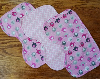 Pink Elephant Burp Cloths - Set of 3