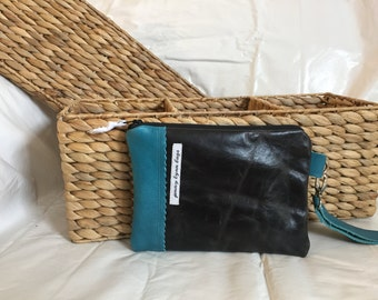 Black and teal leather wristlet combo