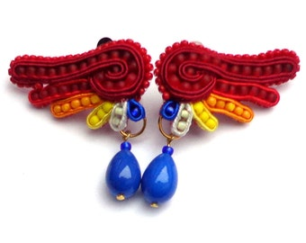 "Soutache clips  ""Wings of a Parrot"""