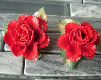Hand Made Red Roses Vintage Clip Earrings Japan Floral Plastic