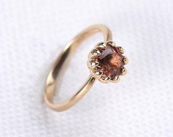 Antique Tourmaline Ring - Pink Tourmaline Ring, Engagement Ring, 14K Solid Gold Ring - AE0017