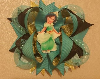 Princess Jasmine hair bow, boutique style with alligator clip