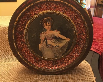 Vintage Guildcraft Tin with Victorian Girl
