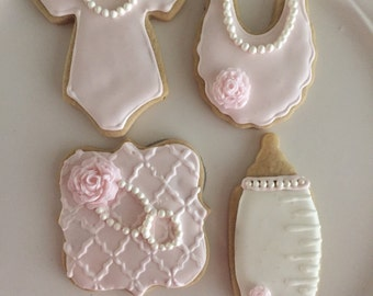 12 Sweet Baby Girl Baby Shower Sugar Cookies