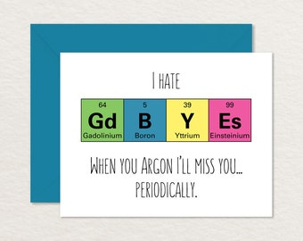 Goodbye Card Printable /  Funny Goodbye Card / Nerdy Goodbye Card / Moving Card / Printable Farewell A2 / Funny Retirement / Science Card