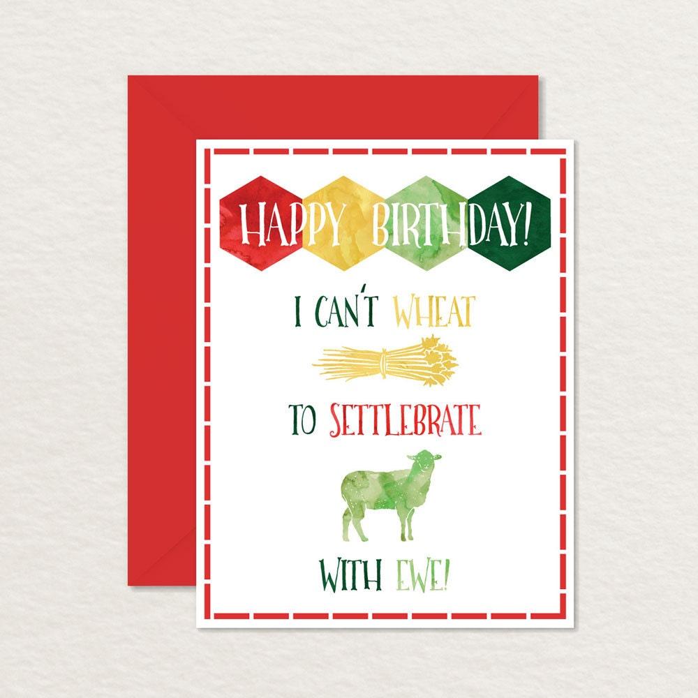 Printable Birthday Card Settlers of Catan Card Printable – Nerdy Birthday Card