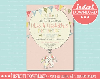 Bunny Birthday Party Invitation -  EDITABLE - INSTANT DOWNLOAD - Editable File - Personalize - Edit Yourself with Adobe Reader-Printable