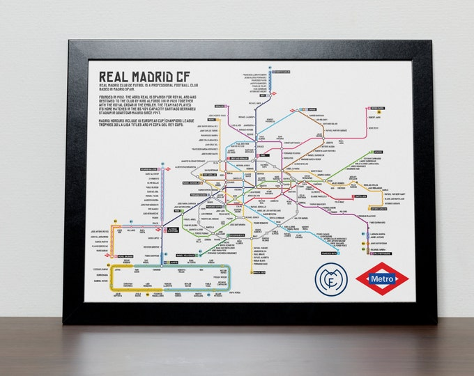 Featured listing image: Real Madrid Greatest Ever Players Metro/Tube/Subway Poster
