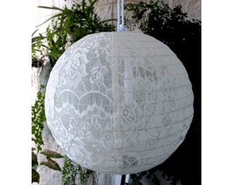 "12"" White Lace Lantern Elegant Wedding Decor Bridal Shower Engagement Party Anniversaries Birthday"