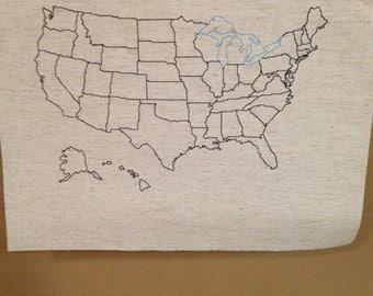 Personalized United States Map Finished Cross Stitch