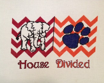Alabama Crimson Tide Auburn Tigers House Divided Cross Stitch