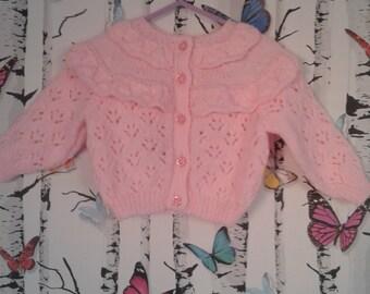 Baby Girl Cardigan, Handmade, Pink Cardigan, Baby Girl, Hand Knitted