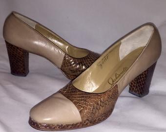 Vintage JULIANELLI Taupe & Brown Snakeskin 3 inch Pump Heel Shoes Sz 8.5